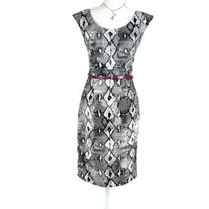 London Times Snakeskin Print Sheath Dress